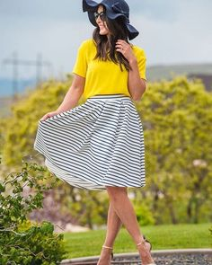 A little bit of sunshine ☀️ This fab skirt is restocked! Click link in profile to shop this outfit. Sexymodest.com #modestfashion #stripedskirt #sunshinefordays