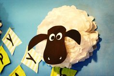 Tissue Paper Pom Pom Sheep... She only fluffed it on the one side... Clever!