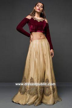 Lehenga Skirt, Velvet Tops, Custom Dresses, Indian Dresses, Pakistani, Dresses Online, Embellishments, Shawl, Chiffon