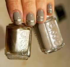 Gold & Taupe -- Taupe is Essie - Miss Fancy Pants; Gold line is Essie - Good as Gold; Glitter is Butter - Tart with the Heart Fancy Nails, Love Nails, How To Do Nails, My Nails, Jolie Nail Art, Do It Yourself Nails, Nagellack Design, Celebrity Nails, Holiday Nail Art