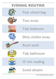 Kids Routine Charts – Evening – Type 1 | Shop – The Organised Housewife