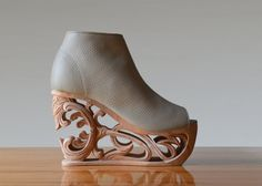 um holy crap these shoes! I wouldn't ever have a place to wear them but they have the most beautiful art shoes.    Tiger Lily 2  Hand Carved Wood Platform Wedge by Fashion4Freedom