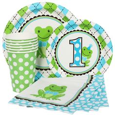 Froggy 1st Birthday Blue Party Supplies Package for 8