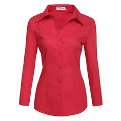 HOTOUCH Womens long Sleeve Button Down Shirt with Stretch ($9.99) ❤ liked on Polyvore featuring tops, red long sleeve top, long sleeve button up shirts, red long sleeve shirt, stretch button down shirt and red button up shirt