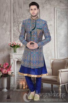 http://www.mangaldeep.co.in/latest-men-wear/blue-groom-wear-anarkali-style-sherwani-in-jamawar-8246 For more information :- Call us @ +919377222211 (Whatsapp Available) (y) :)
