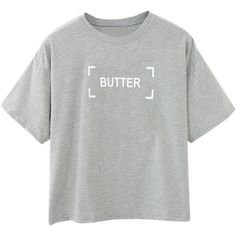 Choies Gray BUTTER Print Short Sleeve Crop T-shirt (58.655 COP) ❤ liked on Polyvore featuring tops, t-shirts, shirts, tees, grey, print t shirts, gray crop top, short sleeve tee, grey crop top and crop shirts