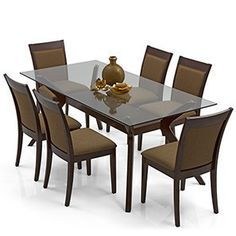 Wesley - Dalla 6 Seater Dining Table Set (Cappuccino Dark Walnut Finish) Check more at //.homeideasx.xyz/dining-table/  sc 1 st  Pinterest & Furniture Top Notch Dining Table With Round Beveled Edge Tempered ...