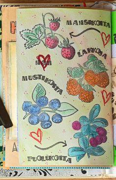Marjat talteen pakkaseen ja art journaliin!