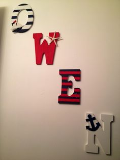 Nautical Room, Sailboats, Anchors, Baby Nursery, Boys Room, Polo, Red White and Blue, Beach Nursery, Wooden Letters, Owen