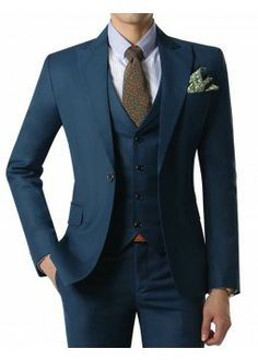 Doublju Men's 1 Button Suit Blazer Jacket Matte Blue (KMOBL035). #suits #mensuit #mencloth #menclothing #doublju