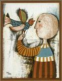 Graciela Rodo-Boulanger - Child with bird, Color...