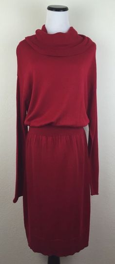 Daisy Fuentes Sweater Dress XL Red Long Sleeves Cowl Neck | eBay
