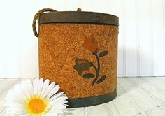 Early Oval Cork Bait Canteen - Vintage Waxed Canvas & Cardboard Carry All - Repurposing Floral Decorated Box $32.00 by DivineOrders