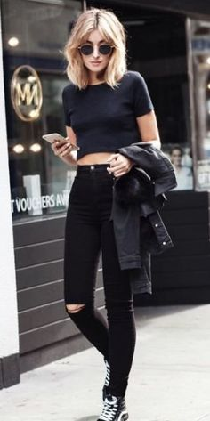All in black / ripped jeans   black t-shirt   leather jacket