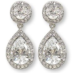 Skye Halo Pear Drop Earrings, 6.0 Ct T.W.