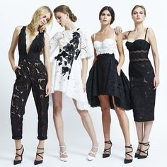 Zuhair Murad RTW 2015: I love these black & white looks! The black jumpsuit with embroidery on the pants is chic! I love the black/white high/low dress. It is fun for spring!