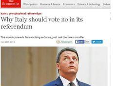 L'Economist invita a votare No, dopo Renzi governo tecnocratico