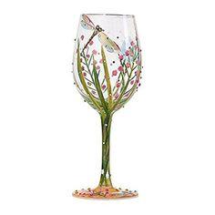 "Lolita from Enesco Dragonfly Wine Glass, 9"", Multicolor"