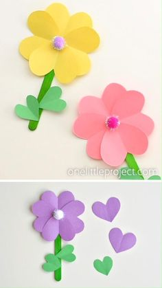 These paper heart flowers made from construction paper, popsicle sticks and pom poms are SO CUTE. And they're really easy to make! You can make these flowers using simple craft supplies - and they loo Mothers Day Crafts For Kids, Spring Crafts For Kids, Paper Crafts For Kids, Easter Crafts, Craft With Paper, Simple Paper Crafts, Diy Paper Crafts, Flower Crafts Kids, Simple Paper Flower