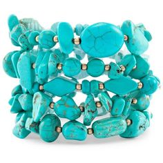 Chico's Seline Multi-Strand Bracelet ($39) ❤ liked on Polyvore featuring jewelry, bracelets, turquoise, gold tone jewelry and chicos jewelry