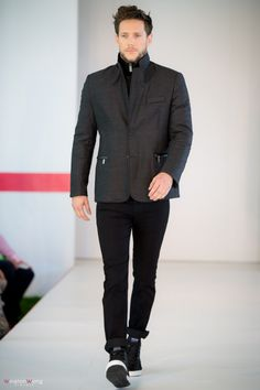 Hugo Boss top, Boss Jacket combined with Versace jeans from Boy's Co., Oakridge Centre Fashion Show at Luxury & Supercar Weekend - Photo: Winston Wong http://styledrama.com/2014/09/11/menswear-impresses-luxury-supercar-weekend/
