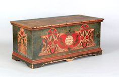 """Pook & Pook. October 24th & 25th 2008. Lot 513.  Estimated: $30K - $50K.  Realized Price: $76,050. Pennsylvania painted dower chest dated 1780, decorated with birds, fish & tulips on a green ground flanked by sides with facing birds  & tulips. Bracket feet, 22"""" h., 46"""" w. Illustrated in The Pennsylvania Germans A Celebration of The Arts, fig. 35 and Schaffner and Klein, Folk Hearts, fig. 71."""