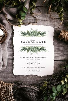 Lana Modern Greenery Save the Date Printable Save the | Etsy