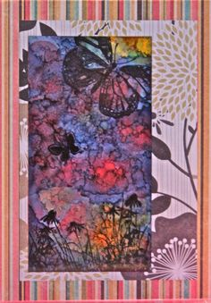 Handmade Card - Alcohol ink, Silhouette stamps, scrapbook paper