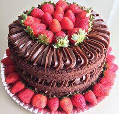 Chocolate Cake Amazing Sweet Treats 43 Ideas For 2019 Cute Cakes, Pretty Cakes, Food Cakes, Cupcake Cakes, Chocolate Chip Cookies, Bolo Nacked, Chocolate Naked Cake, Bolos Naked Cake, Cake Icing