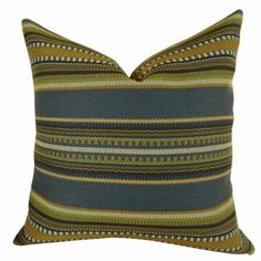 Plutus Chic Stripe Indigo Handmade Pillow, Double Sided, Multicolor