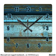 15% Off with code BIZCARDSDEAL Blue and rust rugged weathered rusted metal square wall clock