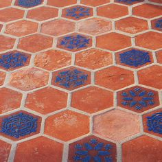 Terracotta Tiles With Blue