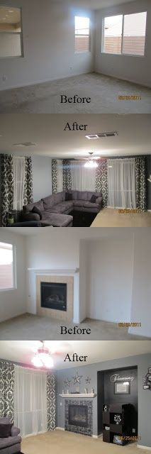 Decorating Ideas and Tutorials on DIY Mamas - Family Room - LOVE the Black & White Damask!!