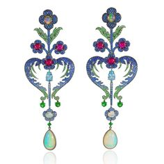GABRIELLE'S AMAZING FANTASY CLOSET | Lydia Courteille Topkapi Opal Floral Chandelier Earrings with Rubies, Sapphires, Tsavorite and Spinel