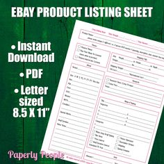 New to PaperlyPeople on Etsy: Ebay Products Listing Sheet | 2 Versions Evernote & Dropbox Ebay Seller Form Listing Template Ebay Template Seller Tools PDF Printable (3.50 USD)