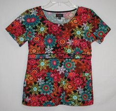 Peaches Bright Floral Scrub Top Small Style 4635 Short Sleeve
