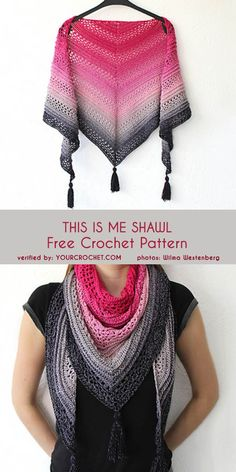 This Is Me Shawl Free Crochet Pattern Crochet Nightfall Shawl – free crochet pattern byFall River Shawl Crochet Free Pattern – Lace ShawlMy First Triangle Shawl Crochet Free Pattern –… Pull Crochet, Crochet Shawl Free, Crochet Shawls And Wraps, Crochet Motifs, Crochet Scarves, Crochet Clothes, Crochet Baby, Crochet Vests, Crochet Stitches