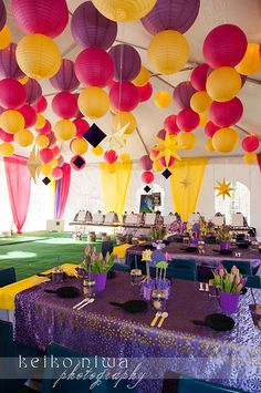 Tangled Birthday Party. This is intense for a kids birthday, but so many good ideas in one picture