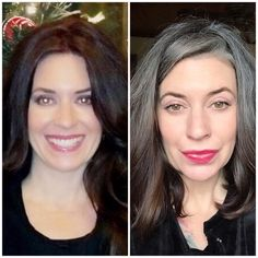 "Left pic, 5 years ago, Right pic couple days ago... I'm conflicted as I look at this side by side of ""colored"" hair vs ""natural"" hair. #silversisters #silverhair #tocolorornottocolor"