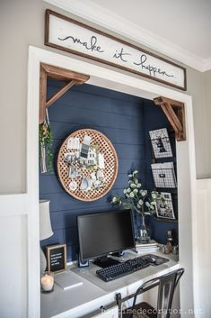 Looking for chick home office design, layout, and decor ideas? Our Home Office Ideas board is full of the best tips, tricks, and hacks for home office space organization and decor Home Office Closet, Home Office Space, Home Office Design, Home Office Decor, House Design, Closet Desk, Office Designs, Small Office Decor, Tiny Home Office