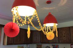Pom-pom (pon-pon) trim and tissue fans  #red #yellow #babyshower #decor #retro #vintage #lighting #pompoms