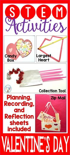 This set of Valentine's Day activities is sure to motivate your students! STEM is education and fun for all elementary students. Stem Challenges, Engineering Challenges, Steam Activities, Science Activities, February Holidays, Stem Skills, Valentines Day Activities, Stem Science, Stem Projects
