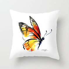 Monarch Butterfly Pillow, Monarch Butterfly Painting, Watercolor Art, Original abstract butterfly art painting by Kathy Morton Stanion EBSQ Butterfly Painting, Butterfly Art, Butterfly Pattern, Monarch Butterfly, Hand Painted Dress, Painted Clothes, Dress Painting, Fabric Painting, Butterfly Pillow