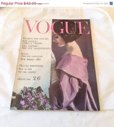 ON SALE Vintage Vogue Magazine 1960 Rare Collectible by OurBoudoir, $37.80