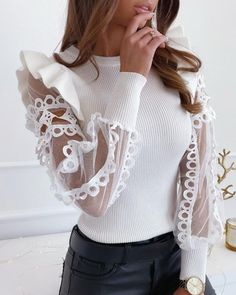Shop & Buy Vintage white knitted patchwork pullover Sexy lace sweater shirt long sleeve casual tops Elegant fashion sweater tops Online from Aalamey Trend Fashion, Look Fashion, Fashion Outfits, Fashion Shirts, Womens Fashion Online, Pattern Fashion, Casual Tops, Lace Trim, Blouses For Women