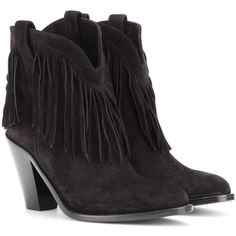 Saint Laurent New Western Fringed Suede Leather Ankle Boots (33225 TWD) ❤ liked on Polyvore featuring shoes, boots, ankle booties, black, black fringe boots, cowboy boots, suede booties, black ankle booties and short black boots