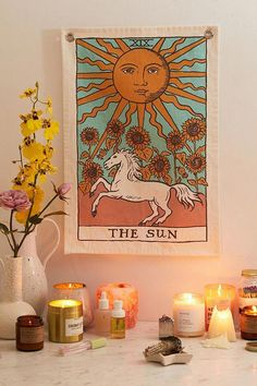 The Sun Tarot Card Tapestry Urban Outfitters UK Bedroom Vintage, The Sun Tarot Card, Tarot Card Art, Tarot Card Tattoo, Vintage Tarot Cards, Hippy Room, Uni Room, College Room, Aesthetic Room Decor