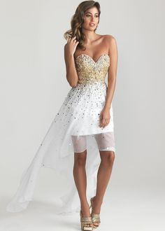 sparkley white high-low prom dresses | ... Moves 6632 - White Strapless High Low Prom Dresses Online on Wanelo