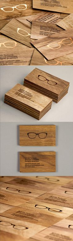 Stylish Laser Engraved Wooden Business Card For A Graphic Designer