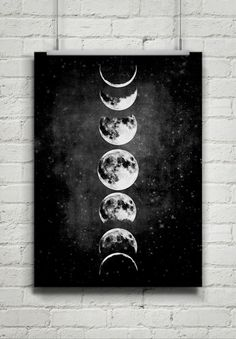 Moon Poster,Full Moon,Moon Art With Moon Phases,Astronomy Art.NO,427 by 8RedFishCreative on Etsy https://www.etsy.com/listing/224714605/moon-posterfull-moonmoon-art-with-moon